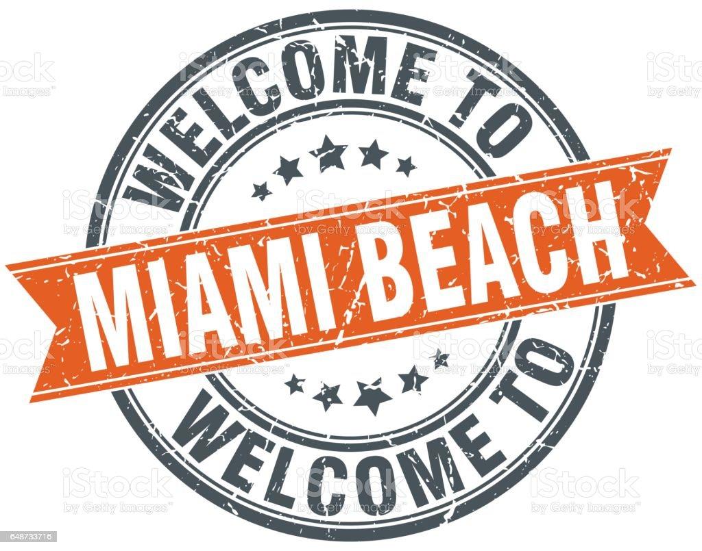 Welcome To Miami Beach Orange Round Ribbon Stamp Stock Vektor Art ...