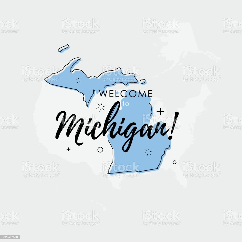 Welcome To Michigan State Map Stock Vector Art IStock - Michigan state map