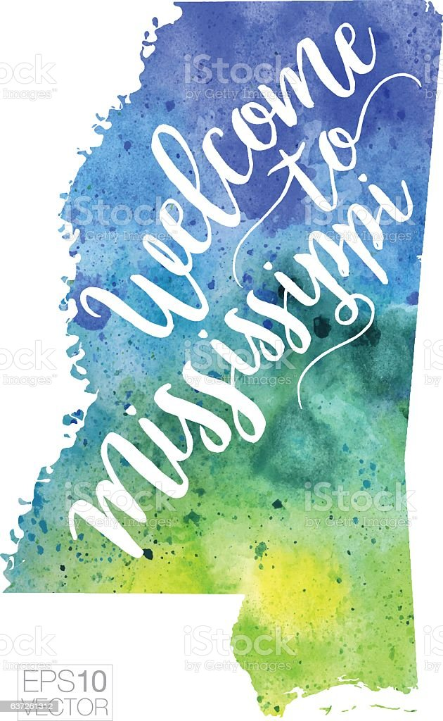 Welcome to Mississippi Vector Watercolor Map vector art illustration