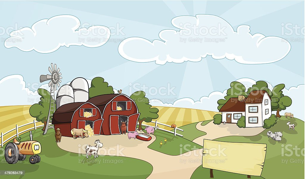 welcome to my farm vector art illustration
