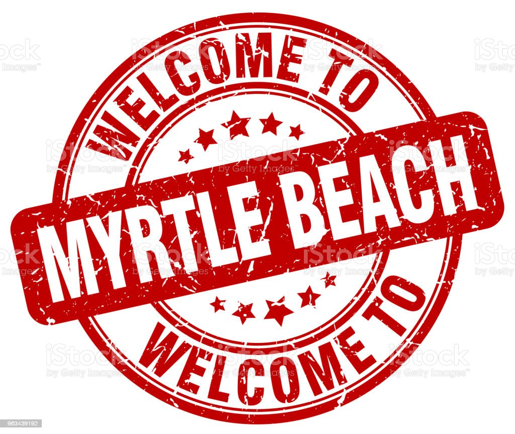 Bienvenue à Myrtle Beach rouge rond cachet vintage - clipart vectoriel de Badge libre de droits