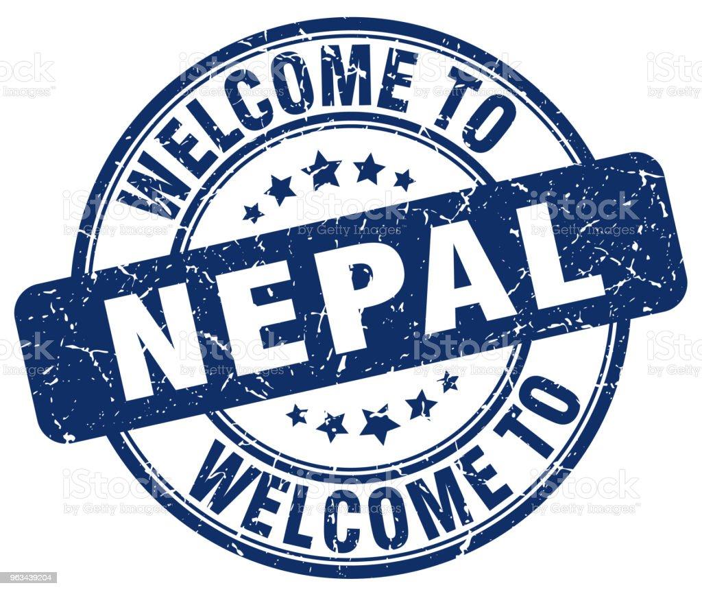 Välkommen till Nepal blå runda vintage stämpel - Royaltyfri Blå vektorgrafik