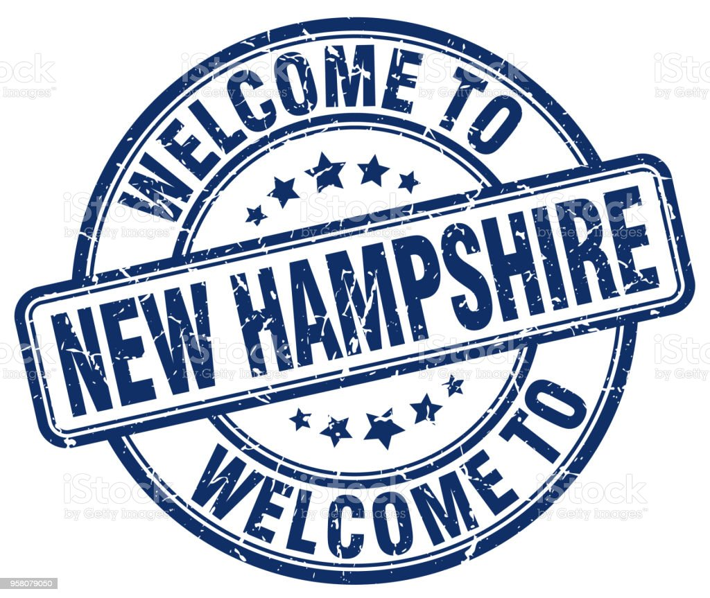 welcome to New Hampshire blue round vintage stamp vector art illustration