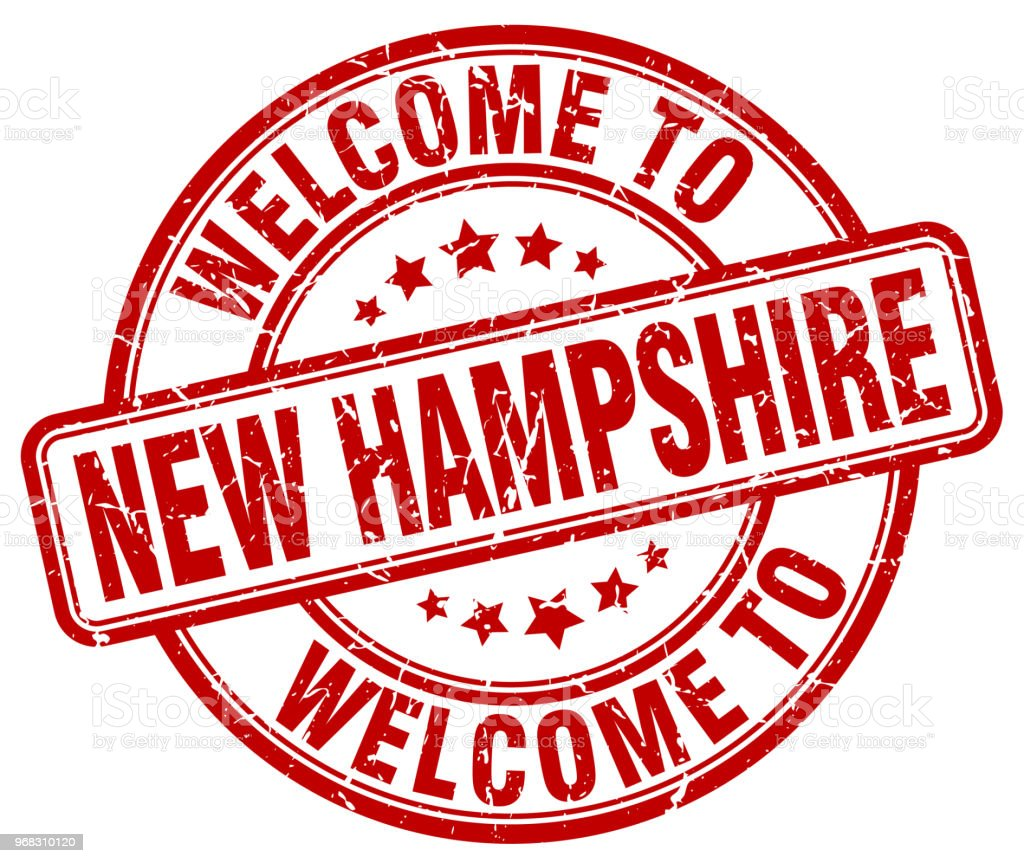 welcome to New Hampshire red round vintage stamp vector art illustration