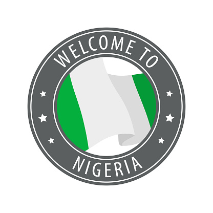 Welcome to Nigeria. Gray stamp with a waving country flag.