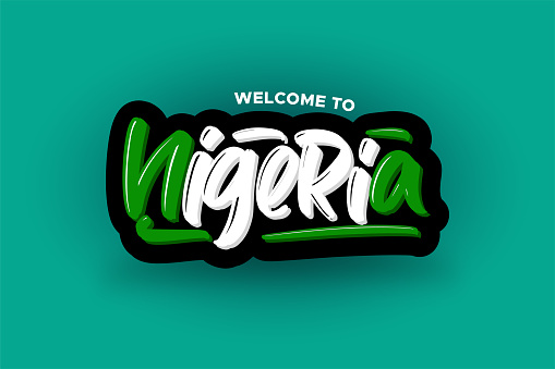 Welcome to Nigeria modern brush lettering text. Vector illustration logo for business, print and advertising.