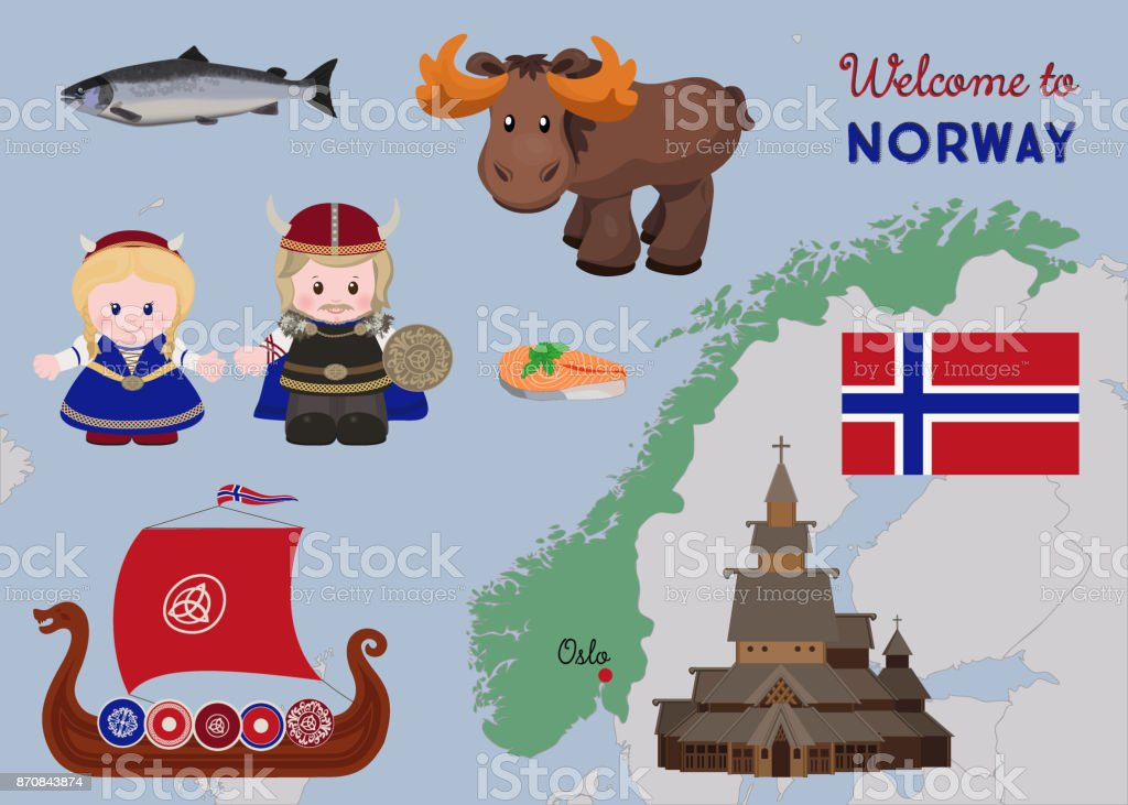 Welcome to Norway, scandinavian symbols set