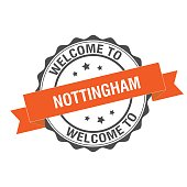 Welcome to Nottingham stamp illustration