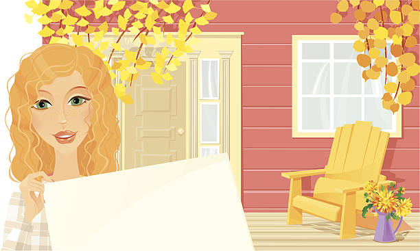 Welcome to our Autumn Cottage Beautiful ginger girl holding a sign on the cottage porch. Autumn time. Country or cottage lifestyle. Vector illustration.   muskoka stock illustrations