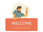 Welcome to our community. Flat vector illustration of smiling friendly man sitting on banner and waving his hand to greet new user or colleague. Modern design for website greeting and landing page