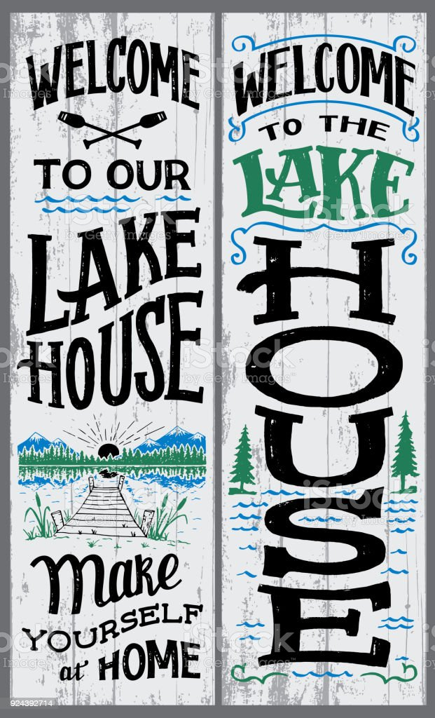 Welcome to our lake house sign vector art illustration