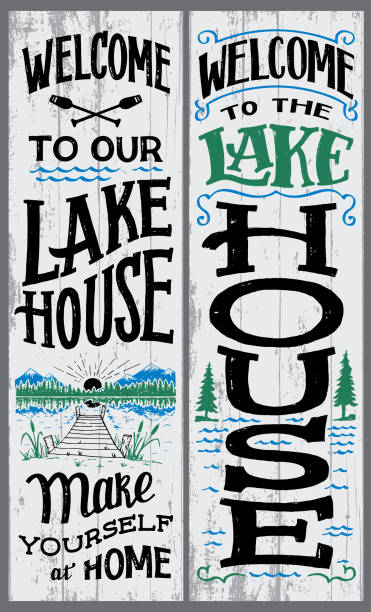 welcome to our lake house sign - jezioro stock illustrations