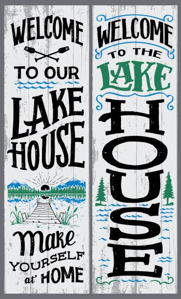 ilustraciones, imágenes clip art, dibujos animados e iconos de stock de bienvenido a nuestro signo de casa del lago - lago