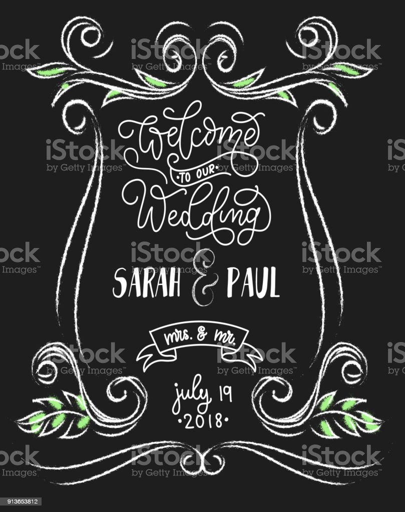 Welcome To Our Wedding Chalkboard Card With Flourishes And Lettering Vintage Sign