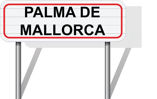 Welcome to Palma de Mallorca Spain road sign vector