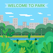 Welcome to park. Vector background. City park. Nature. Summer