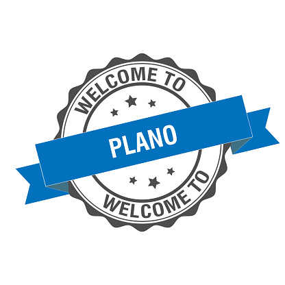 Welcome to Plano stamp illustration