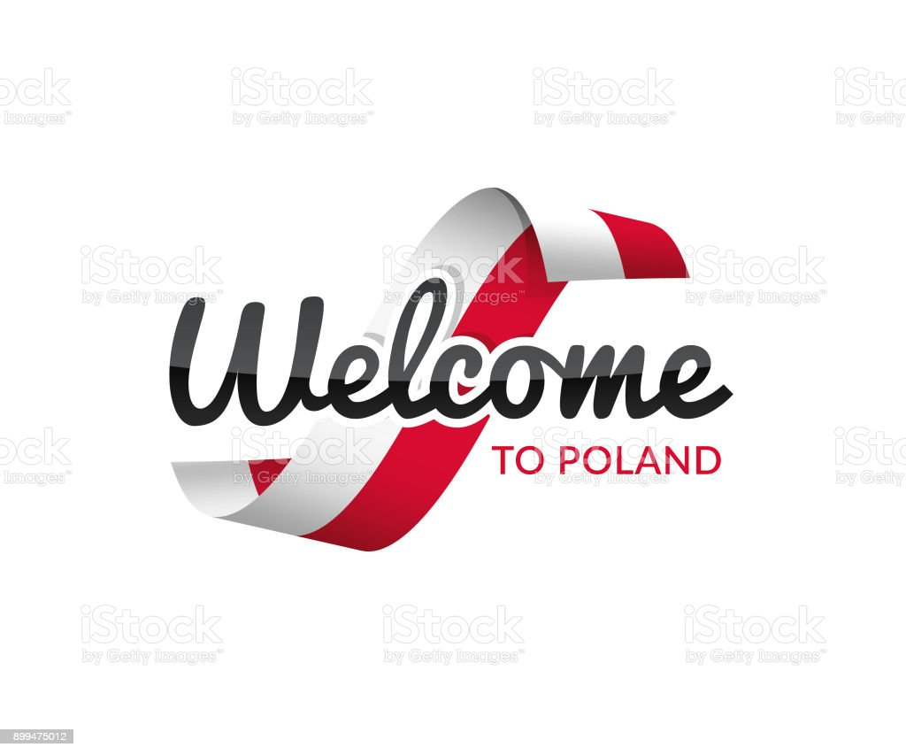 welcome to poland vector art illustration