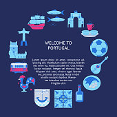 Welcome to Portugal round concept with icons in flat style. Traditional symbols set with national culture, cuisine and attractions. Travel banner or poster template with place for text.