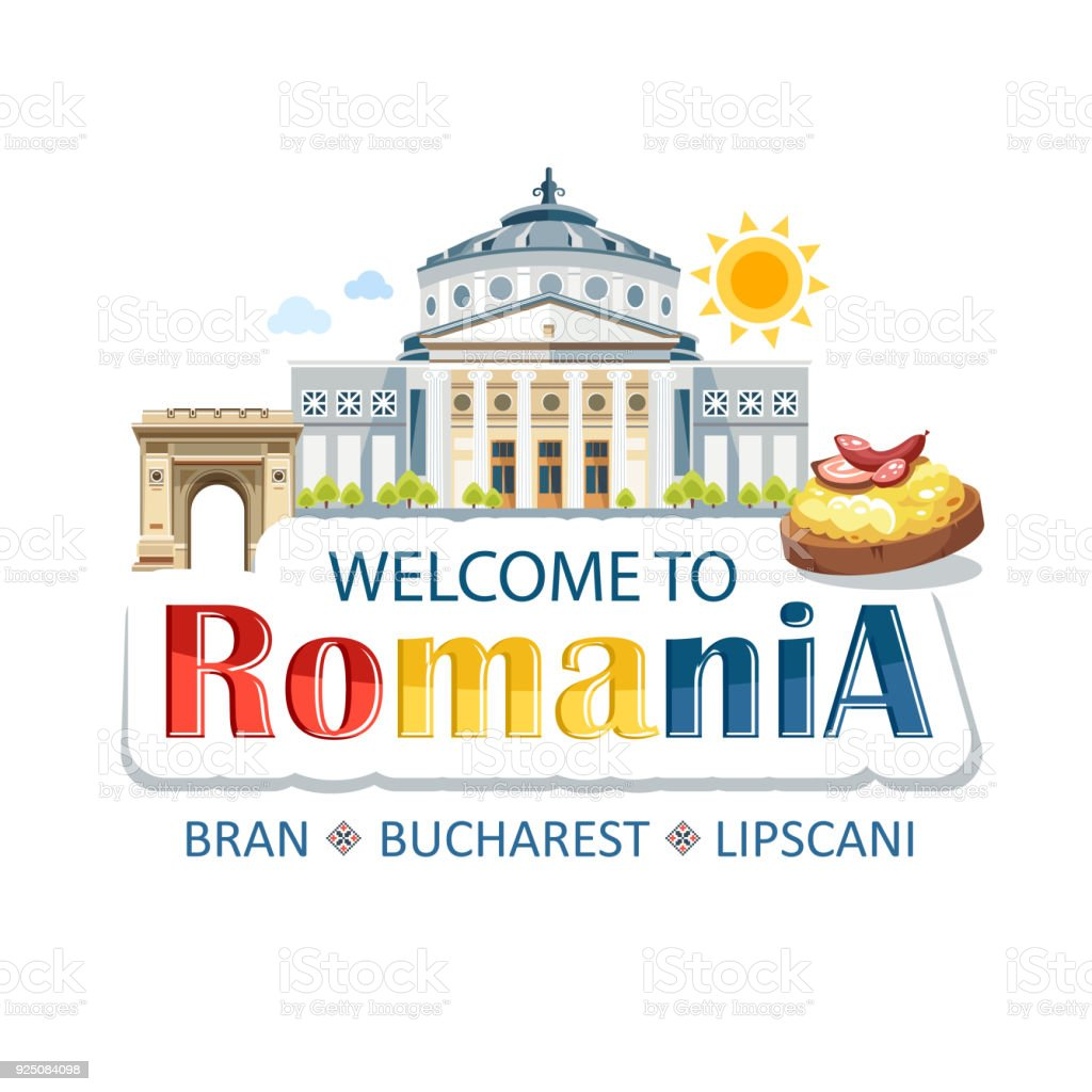 Welcome to romania lettering text sticker header with architecture welcome to romania lettering text sticker header with architecture sights food arch theater hominy royalty buycottarizona Gallery