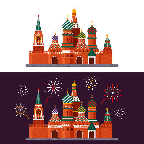 Welcome to Russia. St. Basil s Cathedral on Red square. Kremlin palace isolated on white background and night with fireworks - vector stock flat illustration. Landscape design Welcome to Russia. St. Basil s Cathedral on Red square. Kremlin palace isolated on white background and night with fireworks - vector stock flat illustration. Landscape design kremlin stock illustrations