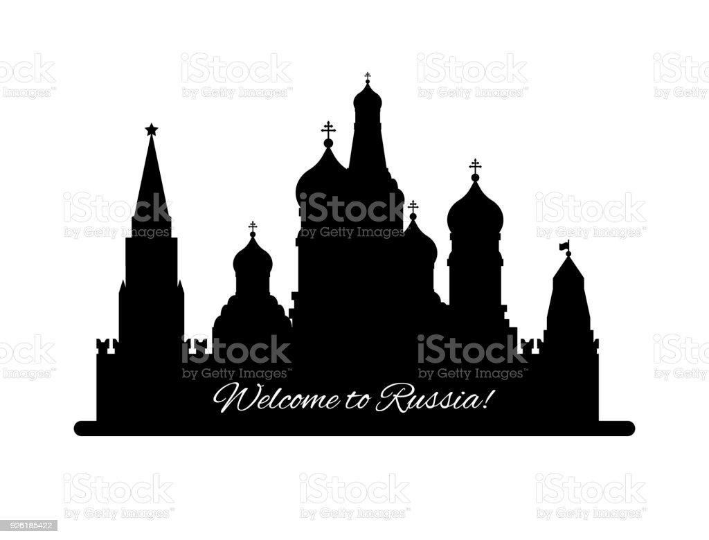 Willkommen in Russland. Basilius Kathedrale auf dem Roten Platz s. Kreml-Palast schwarze Silhouette Lisolated auf weißem Hintergrund - Lager flache Vektorgrafik. Landschaftsgestaltung – Vektorgrafik