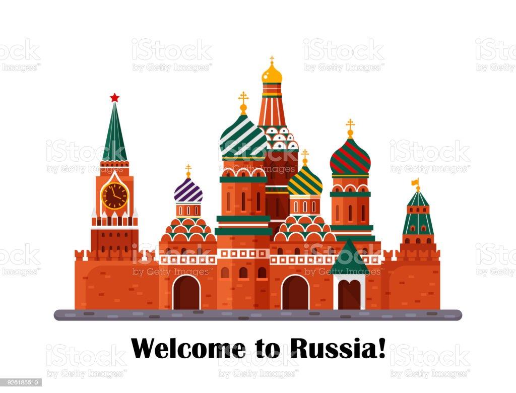 Willkommen in Russland. Basilius Kathedrale auf dem Roten Platz s. Kreml-Palast isoliert auf weißem Hintergrund - Lager flache Vektorgrafik. Landschaftsgestaltung – Vektorgrafik