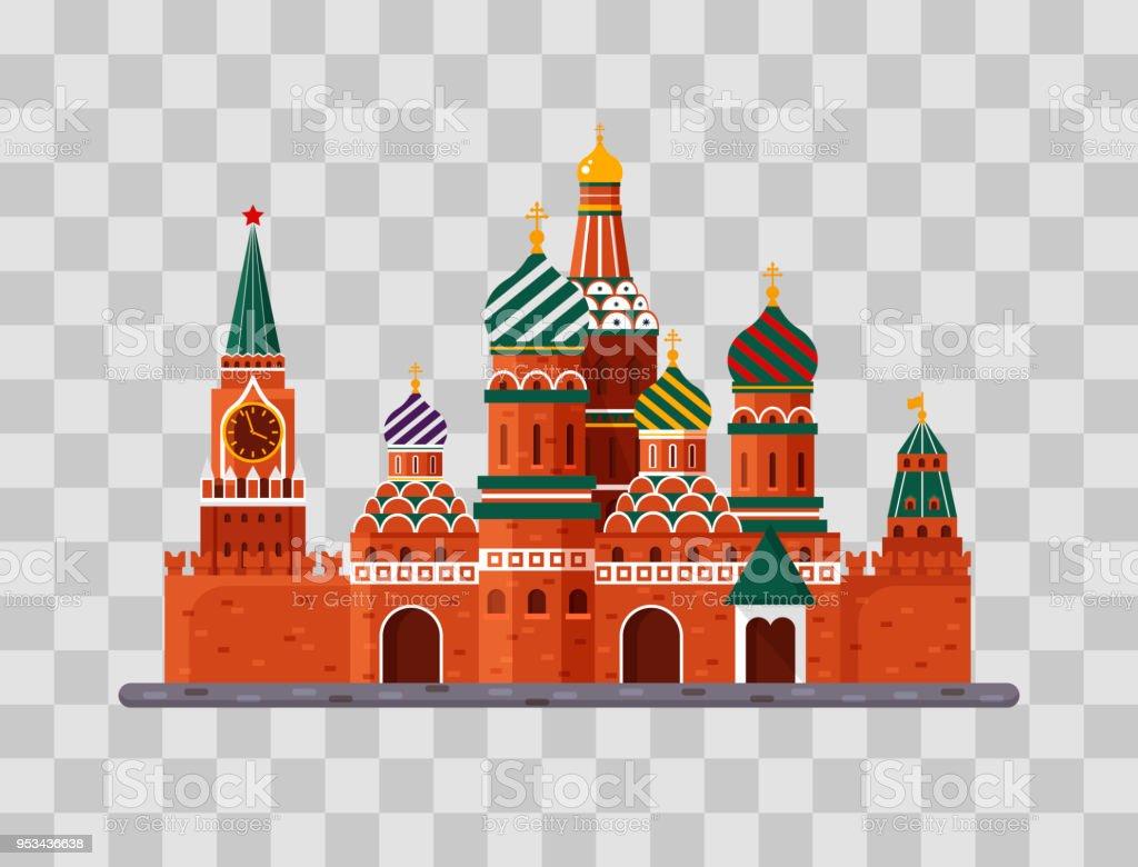 Willkommen in Russland. Basilius Kathedrale auf dem Roten Platz s. Kreml-Palast auf transparenten Hintergrund - Lager flache Vektorgrafik. Landschaftsgestaltung – Vektorgrafik