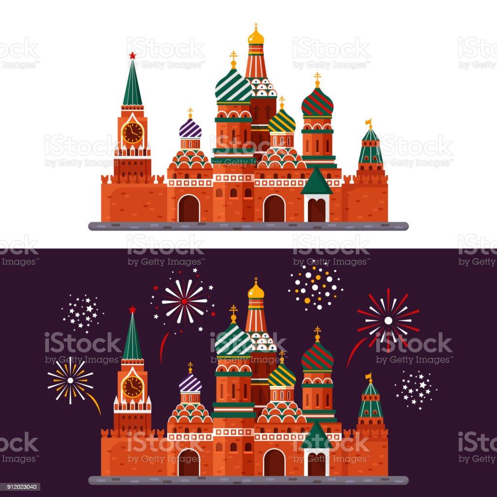 Willkommen in Russland. Basilius Kathedrale auf dem Roten Platz. Kreml-Palast isoliert auf weißem Hintergrund und Nacht mit Feuerwerk - Lager flache Vektorgrafik. Landschaftsgestaltung – Vektorgrafik