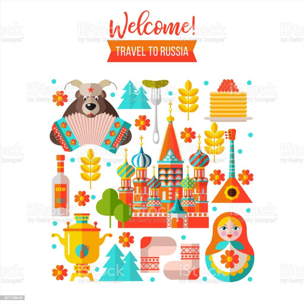 Willkommen in Russland. Reisen nach Russland. Vektor-Illustration. – Vektorgrafik