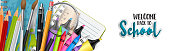 Welcome to school banner. Realistic study supplies - markers, magnifier, ruler, notebook, pencils, pen, brushes. Vector illustration.