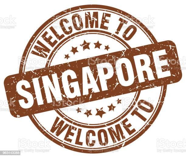 Witamy W Singapurze Brązowy Okrągły Vintage Znaczek - Stockowe grafiki wektorowe i więcej obrazów Bez ludzi