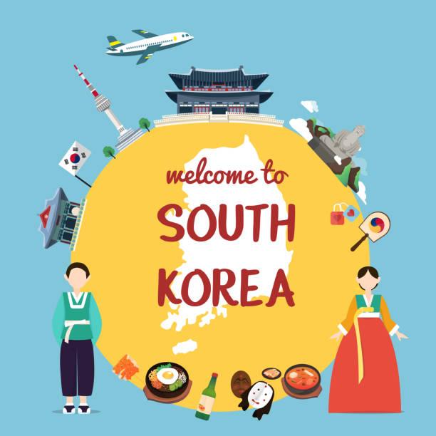 stockillustraties, clipart, cartoons en iconen met welkom op zuid-korea met monumenten en traditie - zuid korea