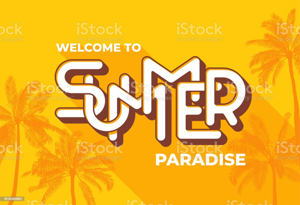 welcome to summer paradise typography on yellow background with palm