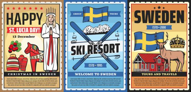 bildbanksillustrationer, clip art samt tecknat material och ikoner med välkommen till sverige, svensk kultur och resor - lucia