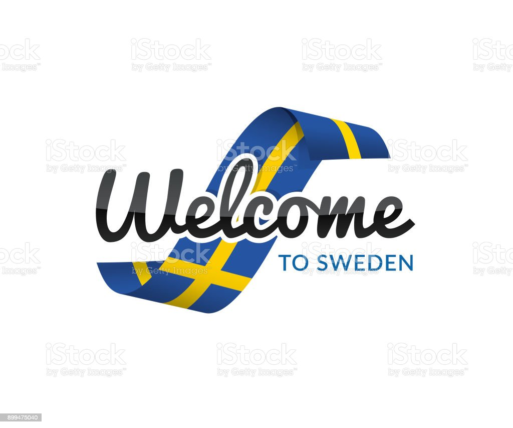 welcome to sweden vector art illustration