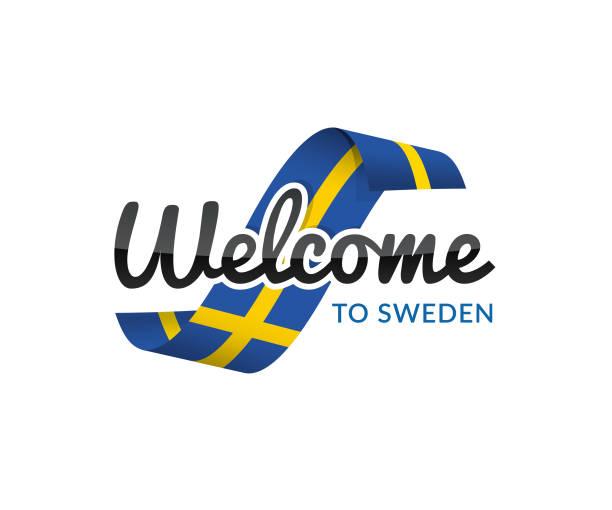 ilustraciones, imágenes clip art, dibujos animados e iconos de stock de bienvenido a suecia - bandera sueca