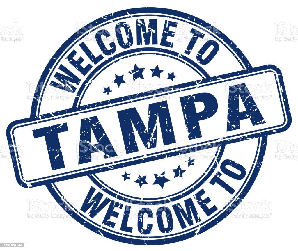 witamy w Tampa niebieski okrągły znaczek vintage - Grafika wektorowa royalty-free (Bez ludzi)