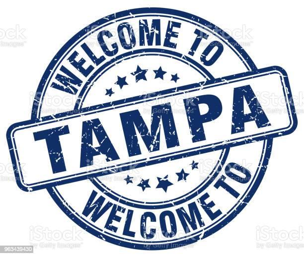 Witamy W Tampa Niebieski Okrągły Znaczek Vintage - Stockowe grafiki wektorowe i więcej obrazów Bez ludzi