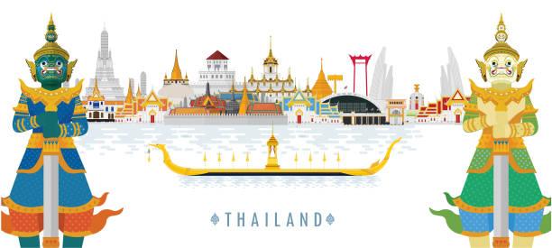 stockillustraties, clipart, cartoons en iconen met welkom bij thailand en guardian giant, thailand reis concept. - thailand