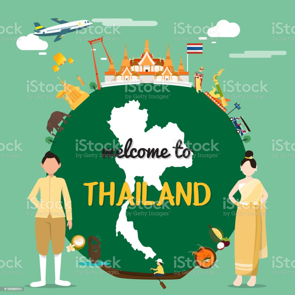 welcome to thailand with traditional landmarks map royalty free welcome to thailand with traditional landmarks