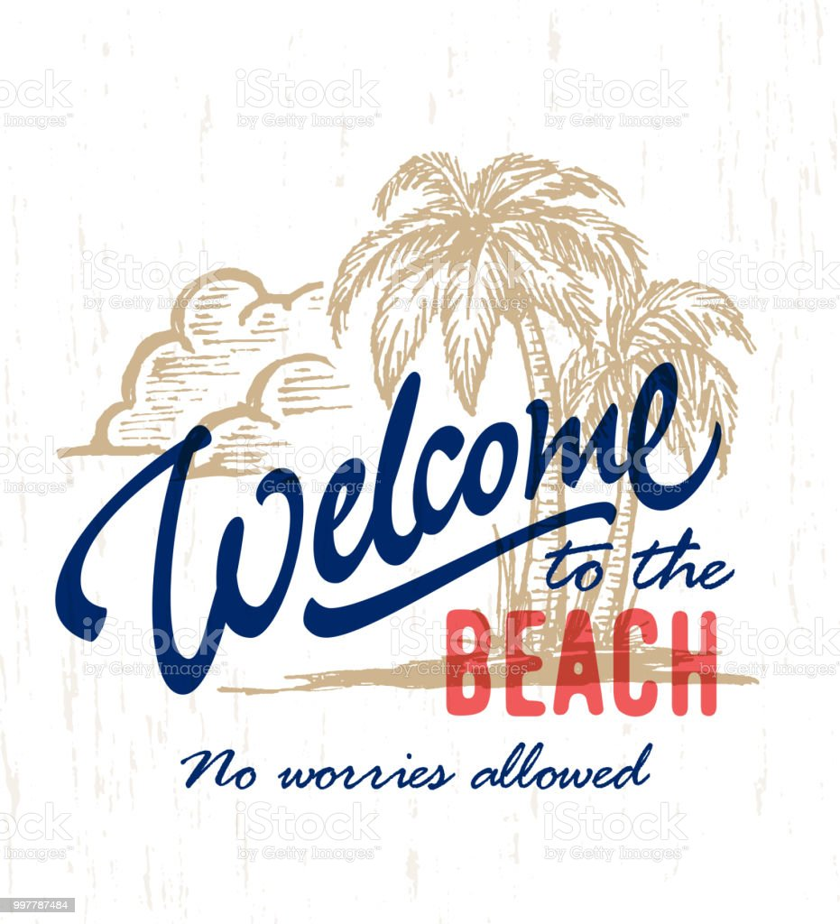 Welcome To The Beach Vintage Hand Drawn Beach Sign Stock