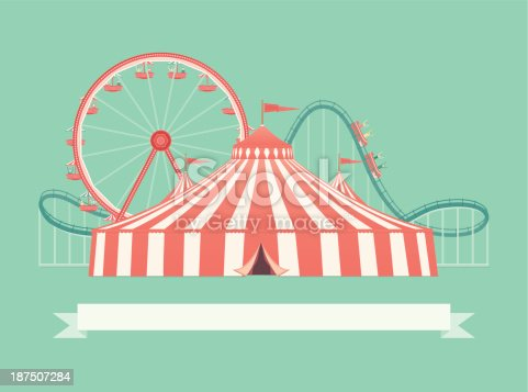 A retro style carnival illustration of a big top circus tent, roller coaster and ferris wheel. This is an editable EPS 10 vector illustration with CMYK color space.
