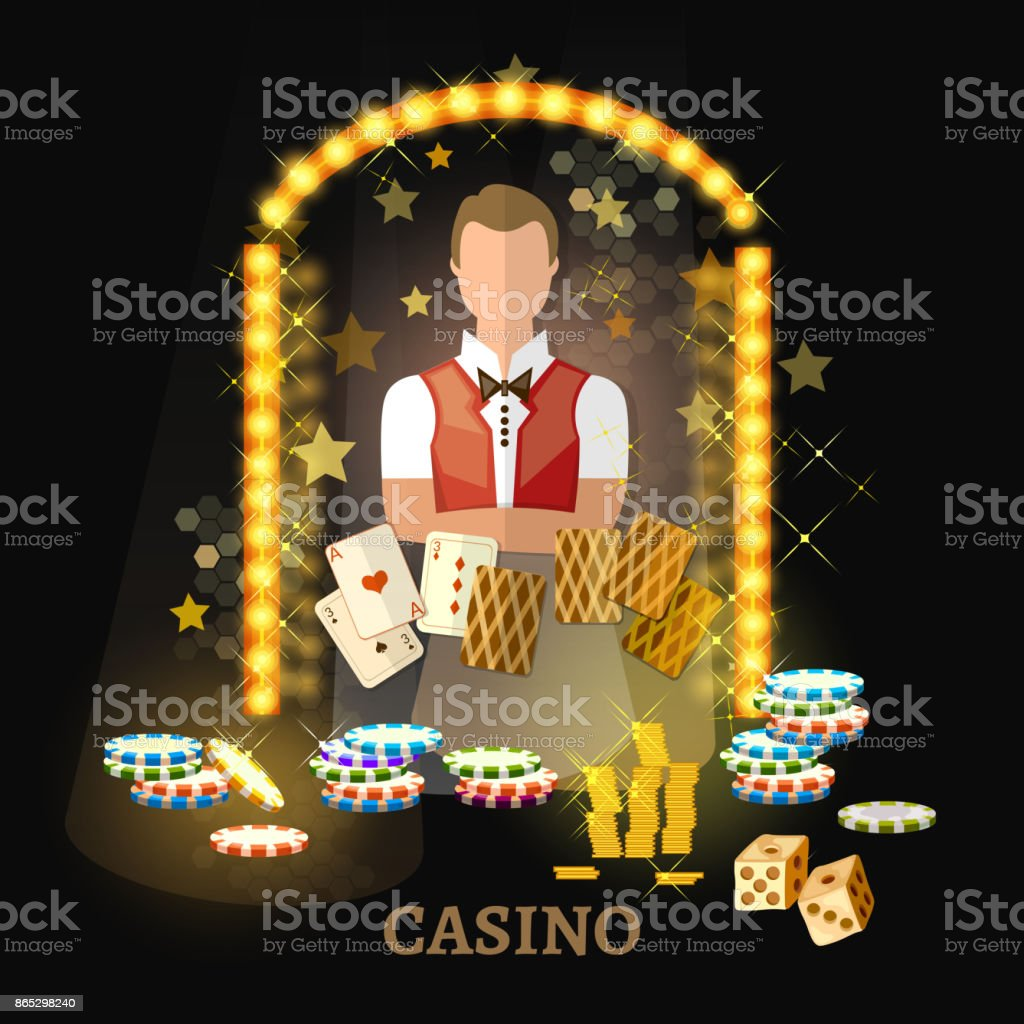 Welcome to the casino vector. Casino set, poker game playing cards slots. vector art illustration