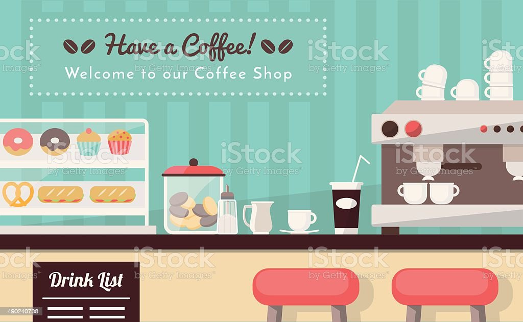 Welcome to the coffee shop vector art illustration