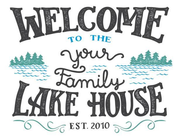 Welcome to the lake house sign - ilustración de arte vectorial