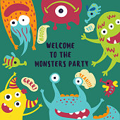 Welcome to the monster party card. Invitation