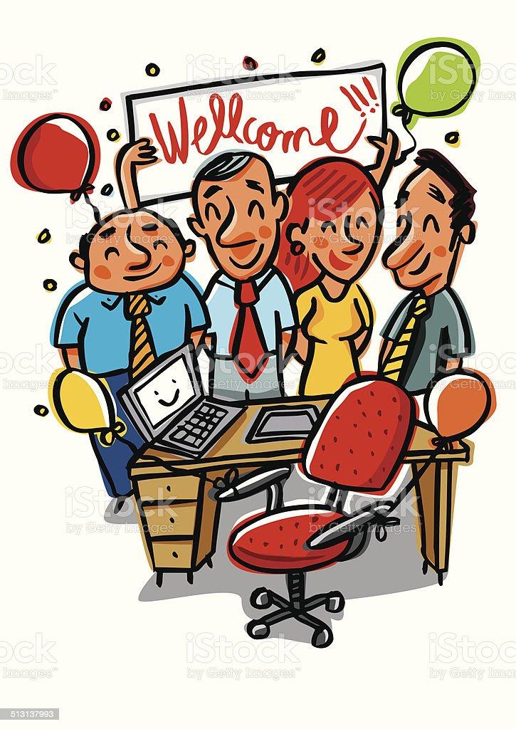 Bienvenido a la oficina - ilustración de arte vectorial