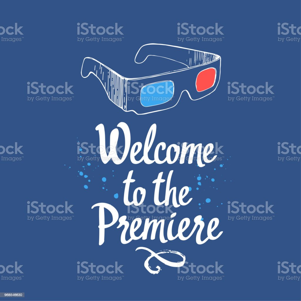 Welcome To The Premiere Movie Time Vector Illustration With