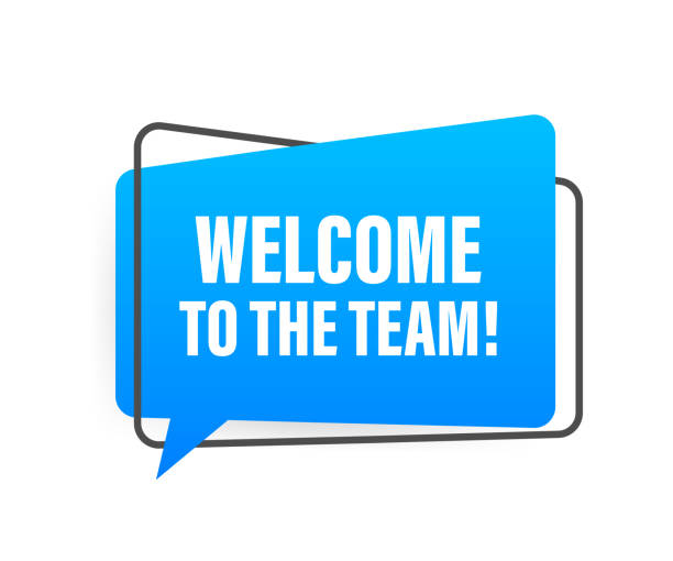 Welcome to the team written on speech bubble. Advertising sign. Vector stock illustration. Welcome to the team written on speech bubble. Advertising sign. Vector stock illustration welcome sign stock illustrations